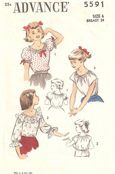 1940's Advance 5591 Girls Peasant Blouses Pattern Size 6 - Click Image to Close