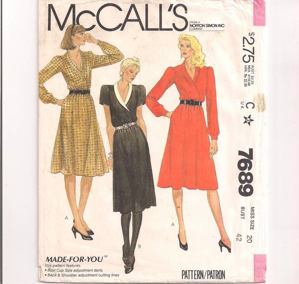 Early 1980's McCall's 7689 Double Breasted Dress Pattern B42 - Click Image to Close