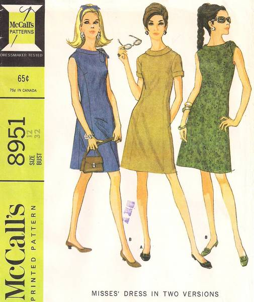 60's McCall's 8951 Wide Neckline Princess Panel Dress Pattern - Click Image to Close