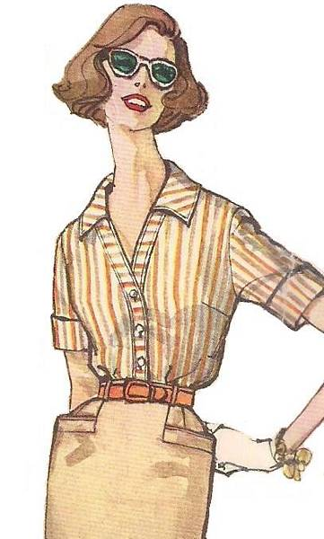 1950's Kick Pleat Slim Skirt and Blouse Pattern Bust 34 - Click Image to Close