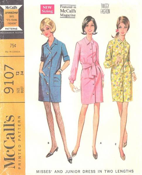 1967 McCall's 9107 Specified Twiggy Fashion Coat Dress Pattern - Click Image to Close