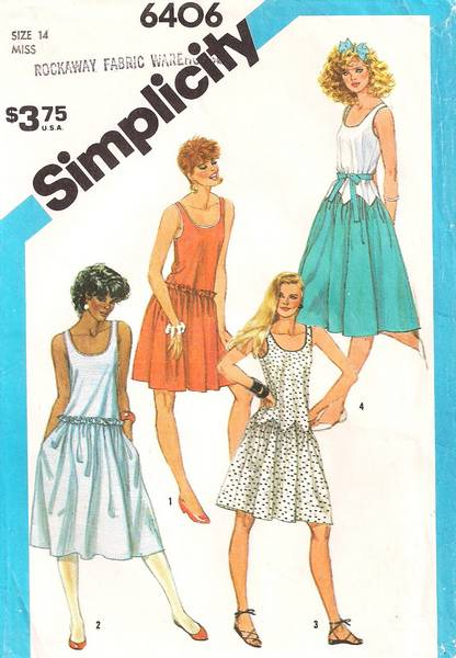 Vintage 80's Simplicity 6406 Pointed Seaming Tank Dress Pattern - Click Image to Close