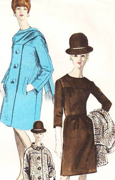 1970's Vintage Vogue 6872 Straight Coat and Dress Pattern - Click Image to Close