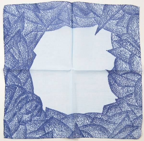 Blue on Blue Abstract Leaf Petal Face Border Hankie - Click Image to Close