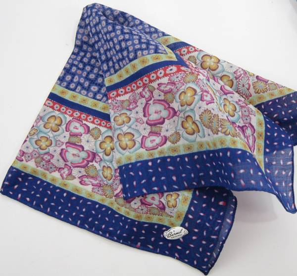 Burmel Navy Blue Floral Vintage Hankie - Click Image to Close