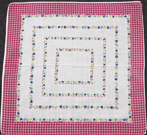 Maroon Windowpane Border and Tiny Flowers Hankie - Click Image to Close