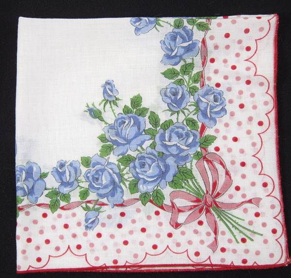 Blue Roses and Red Polka Dots Vintage Hankie - Click Image to Close