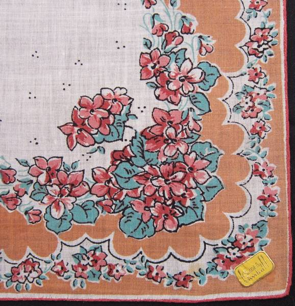 Peach and Turqoise Floral Vintage Kimball Hankie - Click Image to Close