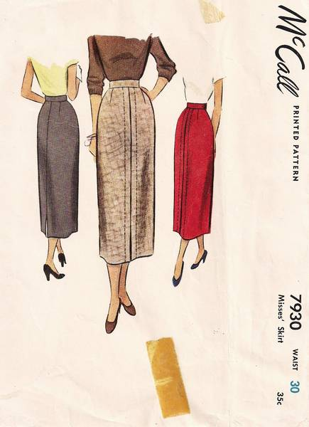 40's New Look Era McCall 7930 Straight Skirt Pattern W30 - Click Image to Close