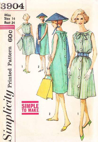 Simpicity 3904 Vtg 60's Turnabout Dress and Hat Pattern - Click Image to Close