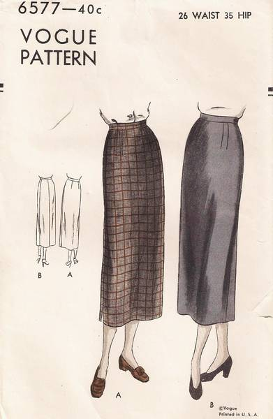1940's New Look Era Vogue 6577 Slim Skirt Pattern Waist 26 - Click Image to Close