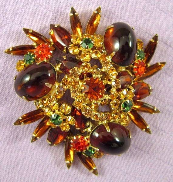 Spectacular Vintage Juliana Style Brooch In Autumn Tones - Click Image to Close