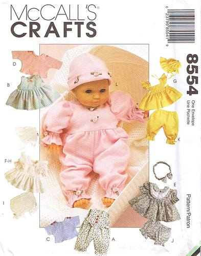 McCall's 8554 Baby Doll Clothes Pattern in Three Sizes - Click Image to Close