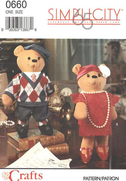 65 Anniversary Simplicity Decorative Bears Pattern 0660/8265. - Click Image to Close