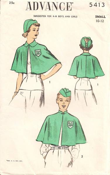 1940\'s Vintage 4-H Cape and Hats Pattern Size 10-12 : Vintage Sewing ...