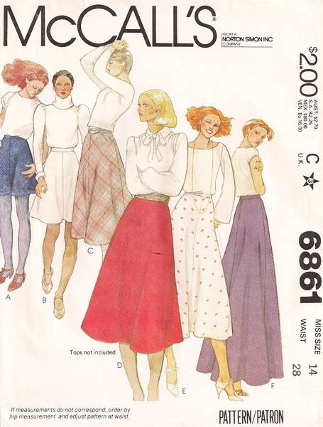 1970's McCall's 6861 Bias Skirt Pattern Waist 28 - Click Image to Close