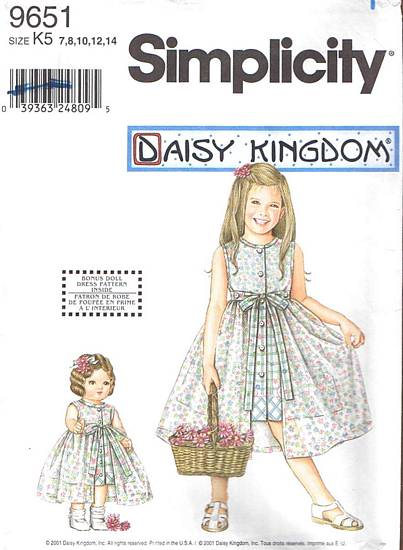 Simplicity 9651 Daisy Kingdom Girls and Dolls Dress Pattern 7-14 - Click Image to Close