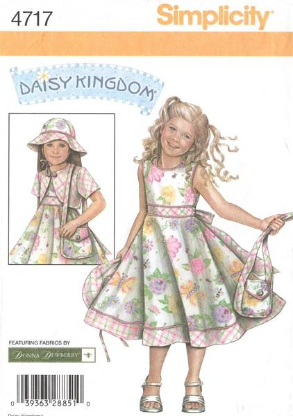 Simplicity 4717 Daisy Kingdom Girls Dress Hat Purse Pattern 3-6 - Click Image to Close