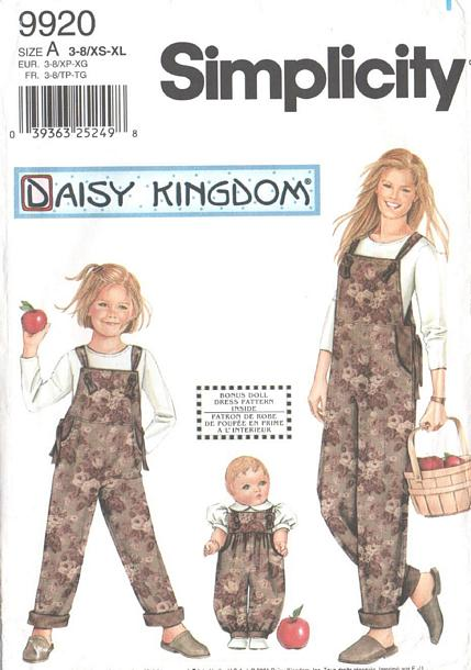 Simplicity 9920 Mother, Daughter and Doll Overalls Pattern - Click Image to Close
