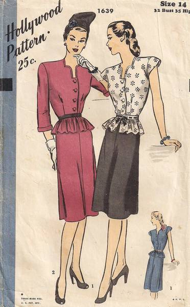 1940's Hollywood 1639 Peplum Blouse and Skirt Pattern - Click Image to Close