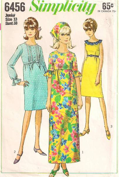 1960's Simplicity 6456 Granny Gown, Dress Pattern Bust 33 - Click Image to Close