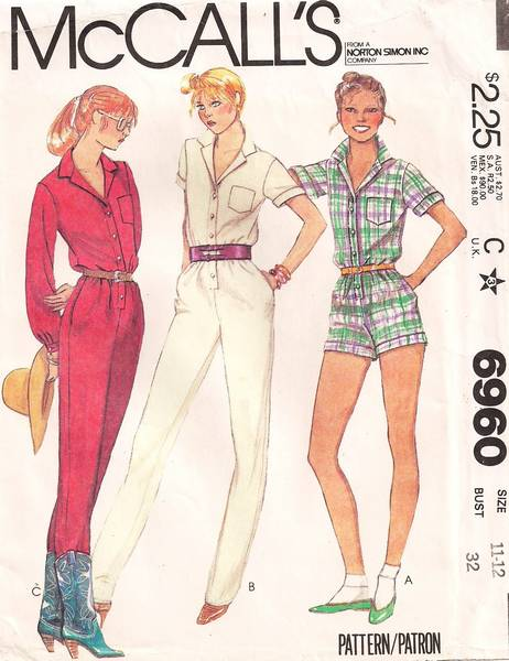 1980 McCall's 6960 Short and Long Jumpsuit Pattern Bust 32 - Click Image to Close
