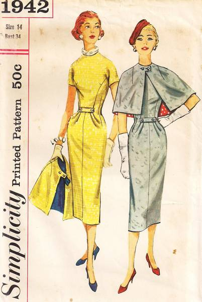 1950's Simplicity 1942 Town-Going Ensemble Pattern Bust 34 - Click Image to Close
