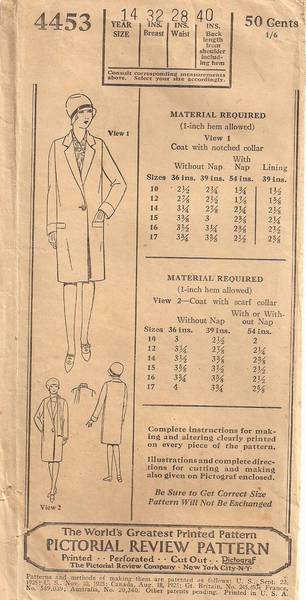 1920's Pictorial Review Girls Straight Coat Pattern Size 14 - Click Image to Close