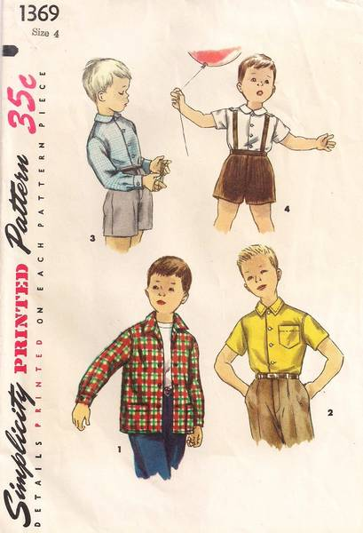 1950's Simplicity 1369 Boy's Shirt Pattern Size 4 - Click Image to Close