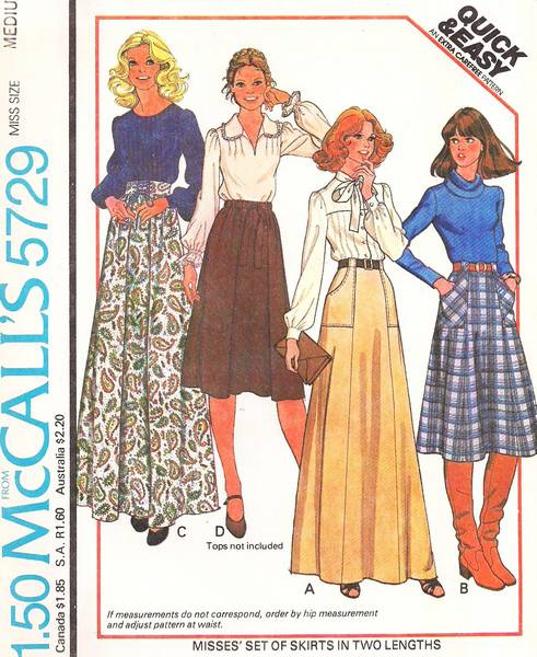 1970's Evening and Regular Skirts McCall's 5729 Pattern W 28-30 - Click Image to Close