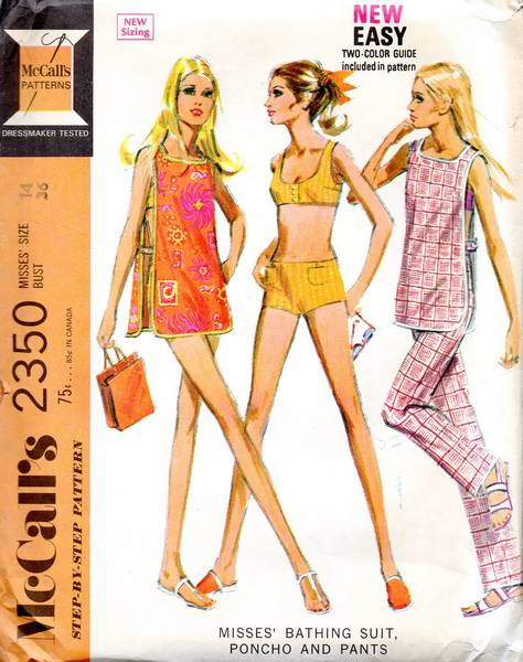 70's 2350 McCall's Two-Piece Bathing Suit, Poncho Pattern B36 - Click Image to Close