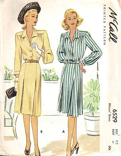 40's Vintage McCall 6529 Inverted Pleat Dress Pattern - Click Image to Close