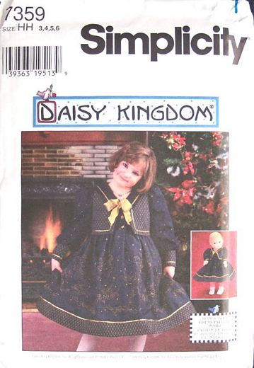 Simplicity 7359 Daisy Kingdom Girls, Doll Dress Pattern 3-6 - Click Image to Close