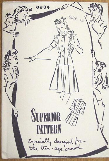 Superior Vintage Forties Two Piece Dress Pattern Bust 31 - Click Image to Close