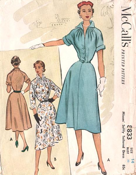 Vintage 50's Raglan Sleeve Shirtwaist Dress Pattern Bust 32 - Click Image to Close