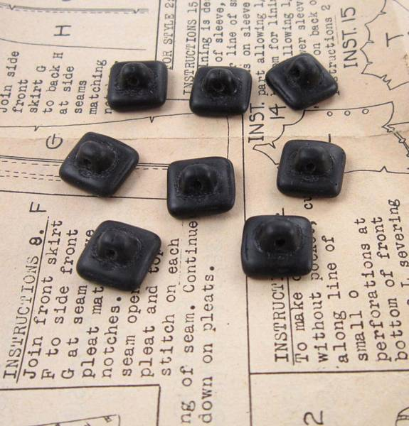 Set of 8 Vintage Molded Early Plastic Small Black Square Buttons