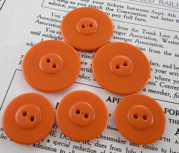 6 Large and Small Pumpkin Orange Vintage Molded Plastic Buttons