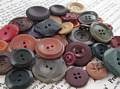 Autumn Tones Vintage Button Group of 34, Early Plastics