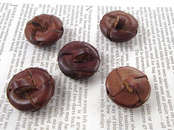 "5 Vintage Brown Leather Woven Buttons 1"" Size"