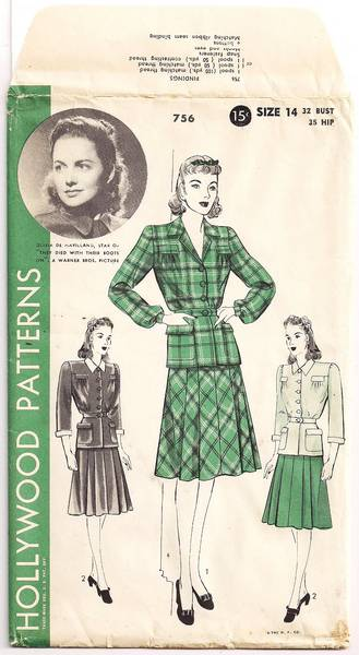 Olivia De Havilland Hollywood 756 Two-Piece Dress Pattern B32