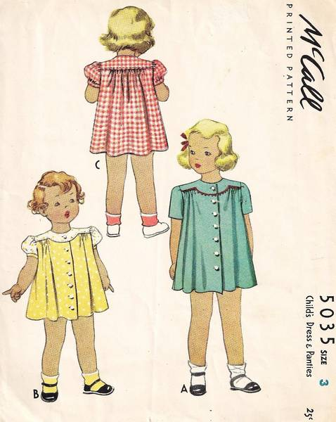 1940's McCall 5035 Child's Dress and Panties Pattern Sz 3