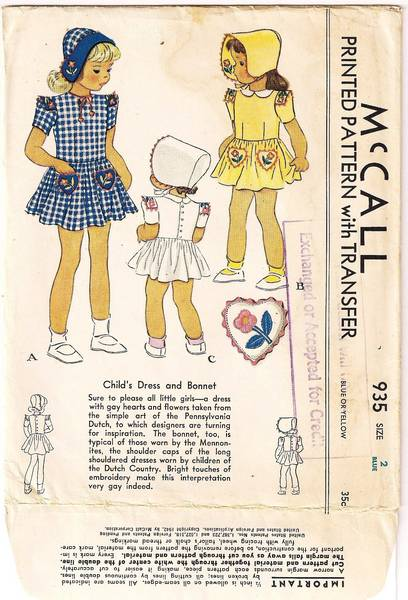 1940's McCall 935 Childs Dress and Bonnet Pattern Size 2