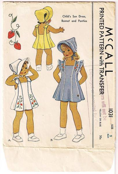 1940's McCall 1031 Childs Sundress, Bonnet, Panties Pattern Sz 2