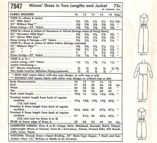 1960s McCall's 7547 Slim Evening Dress and Jacket Pattern B36