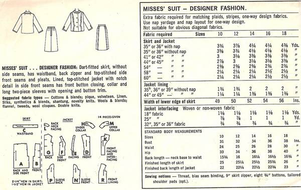 1960's Mad Men Era Simplicity 6406 Designer Suit Pattern B38