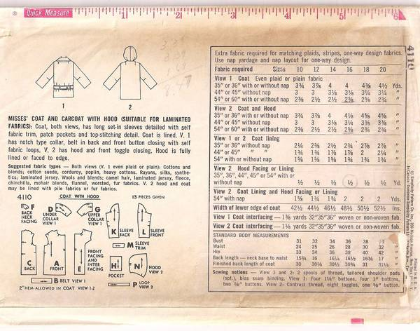 1950's Simplicity 4110 Carcoat with Hood Pattern Bust 36