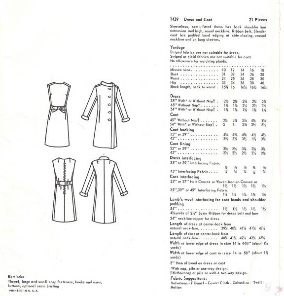 Christian Dior 60's/70's Vogue 1439 Dress and Coat Pattern B34