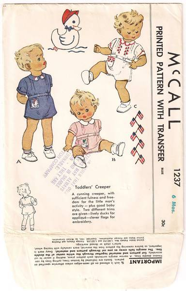 1940's McCall 1237 Precious Toddlers' Creeper Pattern 6 Mos.