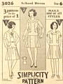 Vintage 1920's Simplicity 3026 Girls' School Dress Pattern Size