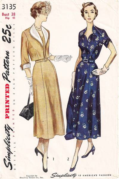 1950's Shaped Neckline Dress and Bolero Pattern Bust 38